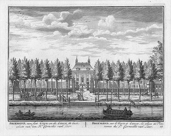 Gezicht over het water op de buitenplaats Driemond, gelegen op de plaats waar de riviertjes het Gein, de Gaasp en het Smal Weesp samenkomen, Daniel Stoopendaal 1719 (Rijksmuseum collectie) <p>.