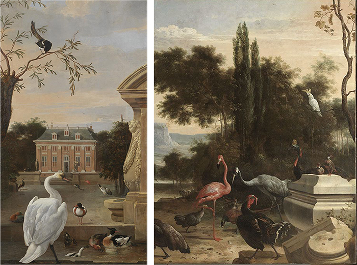 Melchior de Hondecoeter - Birdpark with House Driemond (1671/80) - Details <p>  Alte Pinakothek Museum - Munich.