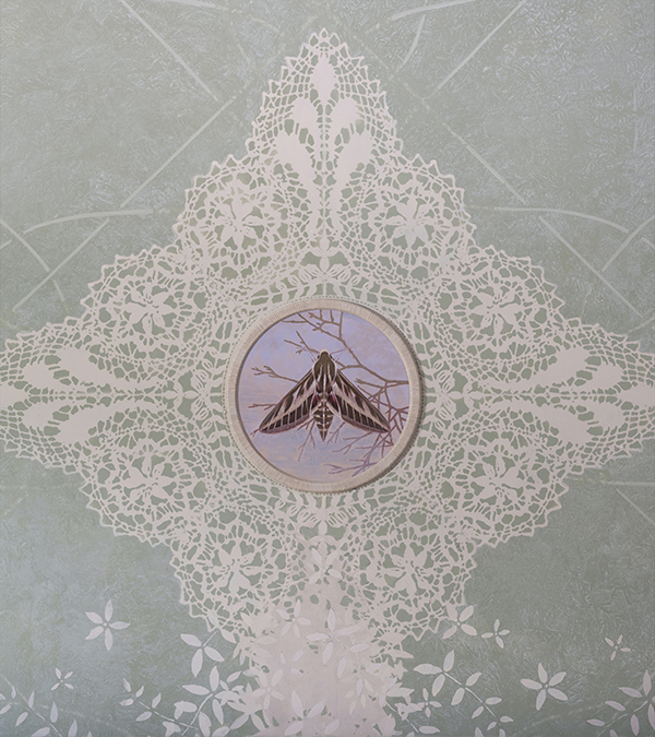 One of the four Maltese Lace cartouches on the ceiling, each with a different species of Hawkmoth. <p> ( Striped spurge Hawkmoth - Hyles livornica - Baħrija tat-dwieli )