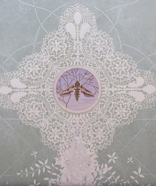 One of the four Maltese Lace cartouches on the ceiling, each with a different species of Hawkmoth.<p>  ( European spurge Hawkmoth - Hyles euphorbiae - Baħrija tat-tengħud)