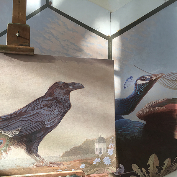 Ravens and peacock for the 18th c. Driemond tea pavilion . . . coming along nicely in the studio.