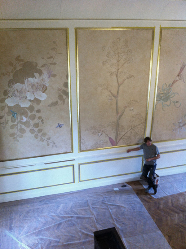 The six meter high walls of the Gran Salon at Malta\'s San Anton Palace. Installation of the new paintings . . .
