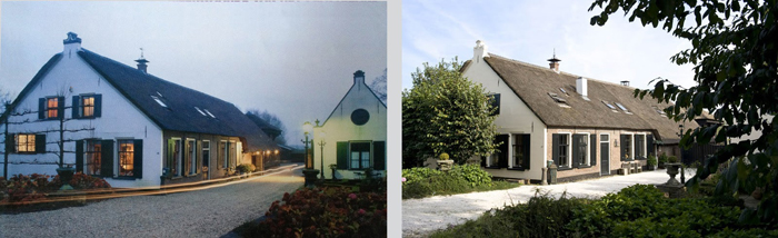 """Seasons on the banks of the river \""""het Gein\""""; a 400 year old farmhouse in december and june."""