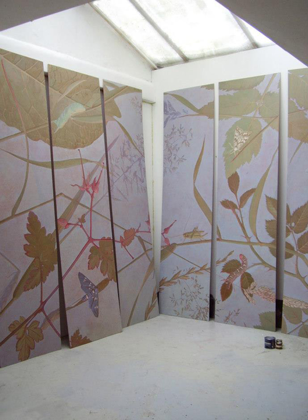 """21 M² in six panels, the Leaves of Grass ceiling  in the Studio in 2013  -  360 x 580 cm  <p> <span style=""""color: #ffffff; font-size: 8pt;"""">رسم اسقف - جدارية</span>"""