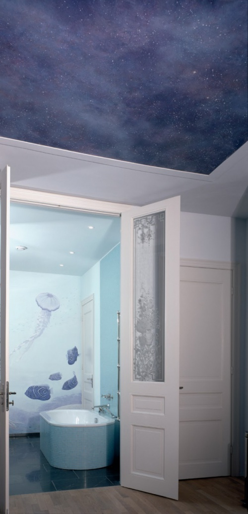 Trompe l\'oeil murals and a  painted ceiling in  master bedroom and bathroom.