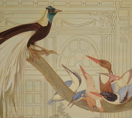 Greater bird of Paradise and six different species of Kingfisher. Detail of Histoire Naturelle III,  one of the murals in the entrance of Herengracht 40