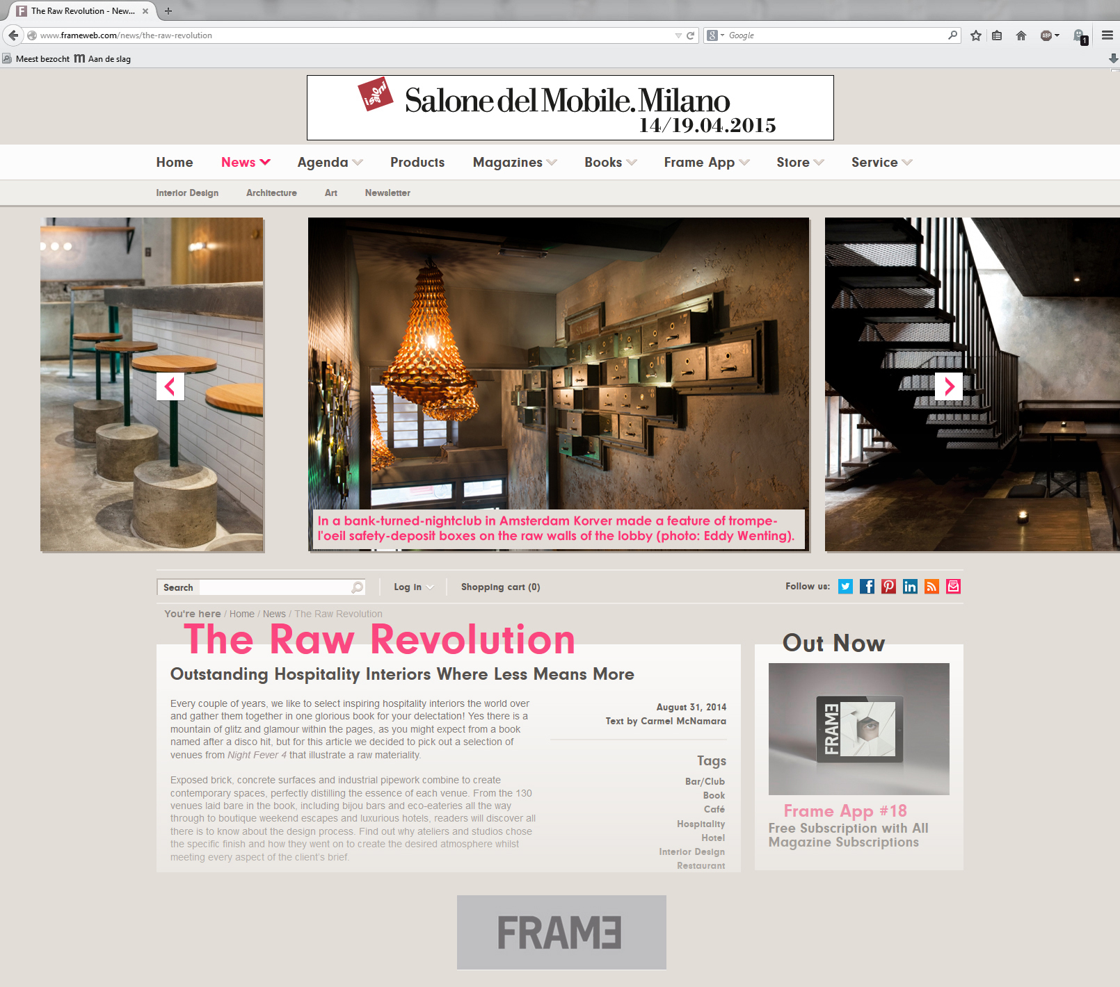 FRAME magazine  highlighting some of the rawer details we added to club ABE\'s interior.