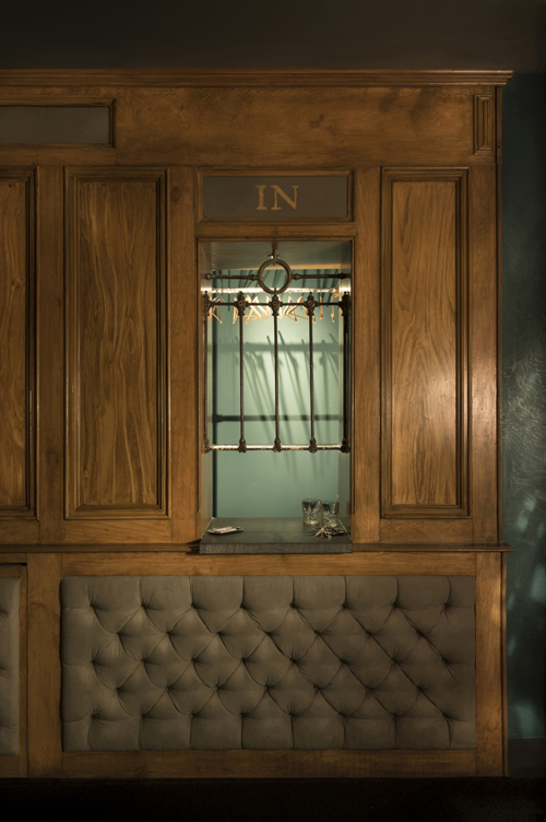 A selection of monumental historical elements; an original bank-counter features in the cloackroom.