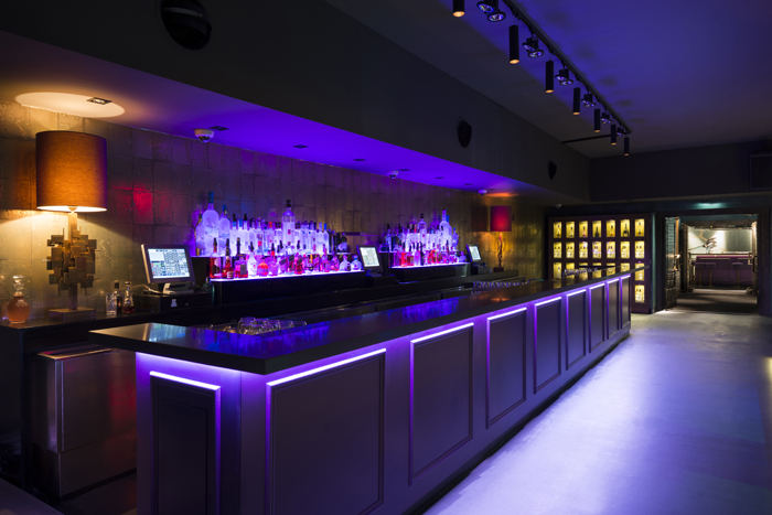 This new spacious club features one of the longest bars in Europe and is decorated with a bright palette of pastel-colors.