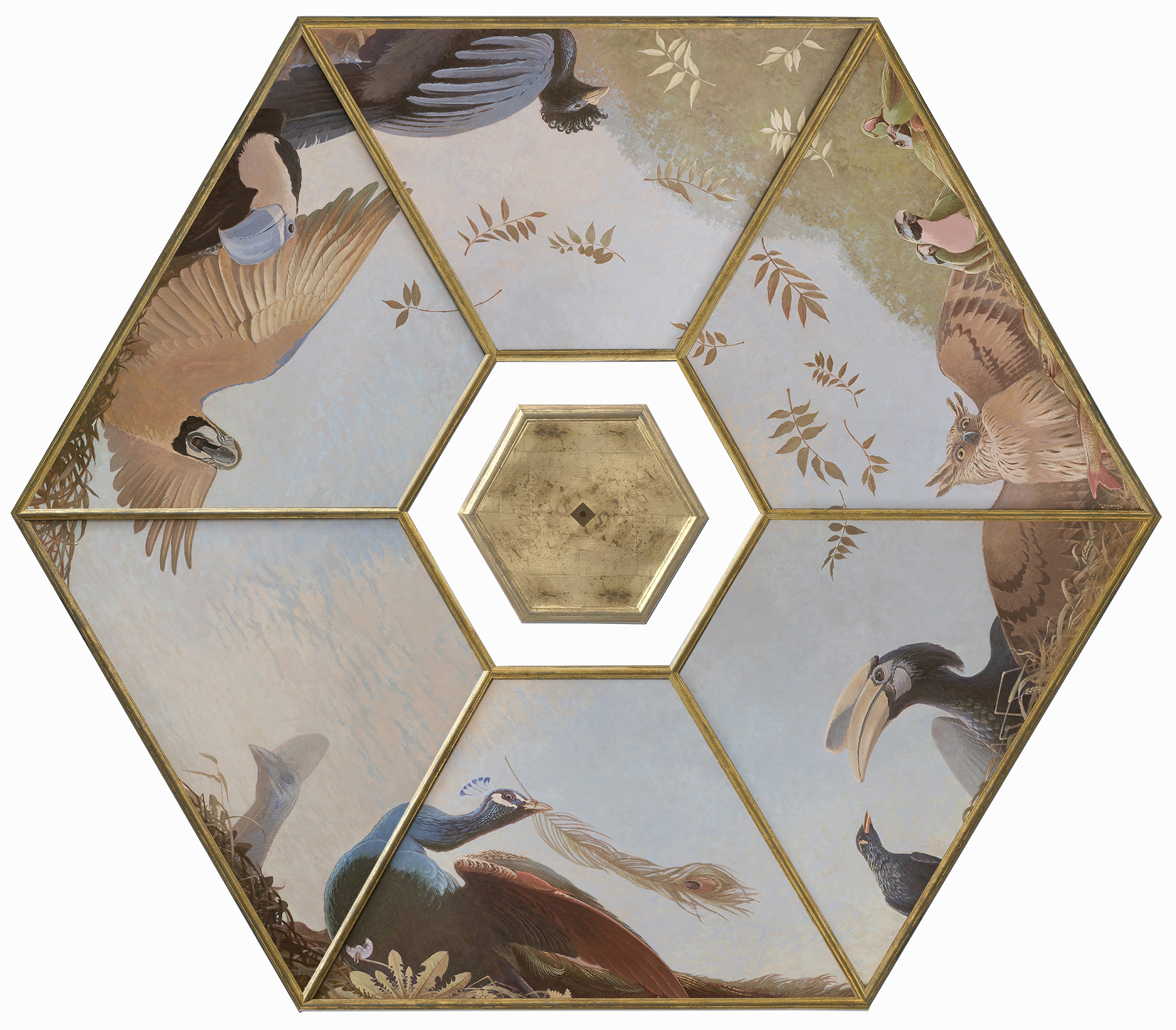 Other One\'s Feathers 2020 - new painted ceiling for the 18th c. Driemond tea pavilion <p> Tempera, Acrylics and goldleaf on wood - diameter 280 cm
