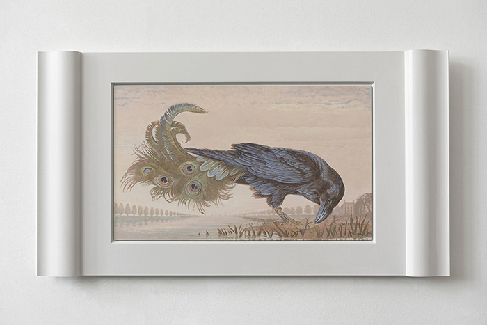 "Other ones Feathers - Raven 4 -  2020 - ""Sopraporte\"" or \""Overdoor\"" painting <p> Acrylics and tempera on Aluminum. <p>."