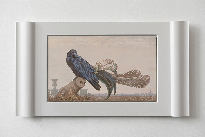 "Other ones Feathers - Raven 3 -  2020 - ""Supraporte\"" or \""Overdoor\"" painting <p> Acrylics and tempera on Aluminum. <p>."