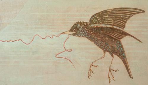Migratory birds in a Rococo room